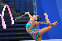 Alexandra Piscupescu of Romania performs with ribbon at 2010 Pesaro World Cup on August 28, 2010 at Pesaro, Italy.  Photo by Tom Theobald.