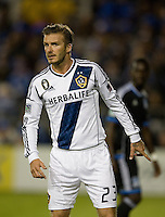 David Beckham of Galaxy in action during the game against the Earthquakes at Buck Shaw Stadium in Santa Clara, California on November 7th, 2012.   LA Galaxy defeated San Jose Earthquakes, 3-1.