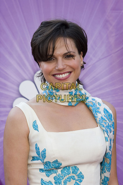 LANA PARRILLA.Network All Star Celebration held at the Century Club, .Los Angeles, 25th July 2005.half length half-length white dress turquosie blue flowers floral scarf.www.capitalpictures.com.sales@capitalpictures.com.© Capital Pictures.