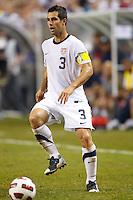 7 June 2011: USA Men's National Team defender Carlos Bocanegra (3) dribbles the ball during the CONCACAF soccer match between USA and Canada at Ford Field Detroit, Michigan. USA won 2-0.