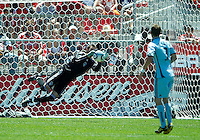 10 July 2010: Colorado Rapids goalkeeper Matt Pickens #18 makes a save during a game between the Colorado Rapids and Toronto FC at BMO Field in Toronto..Toronto FC won 1-0.