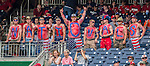 27 May 2013: A group of body-painted Nationals Fans cheers the team on during a game against the Baltimore Orioles at Nationals Park in Washington, DC. The Orioles defeated the Nationals 6-2, taking the Memorial Day, first game of their interleague series. Mandatory Credit: Ed Wolfstein Photo *** RAW (NEF) Image File Available ***