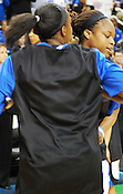 Duke's Karima Christmas chest bumps teammate Chelsea Gray. (Photo by Rob Rowe)
