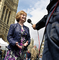 UK. London. From a story on Abingdon Street Gardens, a small patch of land, often referred to as College Green, that lies next to The Houses of Parliament in Westminster. It is a place where the media and the politicians come face to face. Interviews are held, photo shoots are set up and bewildered tourists stroll by..Photo shows Hazel Blears MP on the day Gordon Brown took over as British Prime Minister..Photo©Steve Forrest/Workers Photos