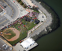 aerial photograph Beijing Olympics torch relay ceremony San Francisco, California