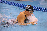 18 February 2016: Notre Dame's Sherri McIntee competes in the Women's 200 Individual Medley preliminary Heat 5. The 2016 Atlantic Coast Conference Swimming and Diving Championships were held at the Greensboro Aquatic Center in Greensboro, North Carolina from February 17-27, 2016.