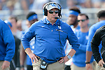 Head coach Mark Stoops of the Kentucky Wildcats looks on during the second half of the TaxSlayer Bowl against the Georgia Tech Yellow Jackets at EverBank Field on Saturday, December 31, 2016 in Jacksonville, Florida. Photo by Michael Reaves | Staff.