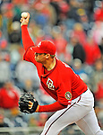 13 April 2008: Washington Nationals' pitcher Jon Rauch on the mound against the Atlanta Braves at Nationals Park, in Washington, DC. The Nationals ended their 9-game losing streak by defeating the Braves 5-4 in the last game of their 3-game series...Mandatory Photo Credit: Ed Wolfstein Photo