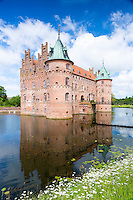 Egeskov Slot Castle, 16th Century Renaissance, with moat and turrets,  in south of the island of Funen, Denmark