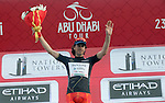 Marco Canola (ITA) Nippo-Vini Fantini wears the Black Jersey at the end of Stage 2 the Nation Towers Stage of the 2017 Abu Dhabi Tour, running 153km around the city of Abu Dhabi, Abu Dhabi. 24th February 2017<br />