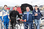 Engine check<br /> ------------------<br /> L-R Adrain&amp;Steven O'Connor, Jerry Lehane with Robert Counihan from Killarney take a brake during the service at Ballyheigue during last Sundays Winter stages rally.