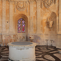 The Royal Chapel, on the second floor of the Phare de Cordouan or Cordouan Lighthouse, built 1584-1611 in Renaissance style by Louis de Foix, 1530-1604, French architect, located 7km at sea, near the mouth of the Gironde estuary, Aquitaine, France. This is the oldest lighthouse in France. There are 4 storeys, with keeper apartments and an entrance hall, King's apartments, chapel, secondary lantern and the lantern at the top at 68m. Parabolic lamps and lenses were added in the 18th and 19th centuries. The lighthouse is listed as a historic monument. Picture by Manuel Cohen