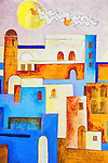 Artistic painting on a house wall in the medina of Assilah, Morocco.