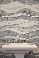 Mirage, a custom hand chopped tumbled natural stone mosaic backsplash, is shown in Kay's Green, Celeste, Thassos, Blue Macauba, Blue Bahia, Ming Green, Travertine White and Verde Luna.