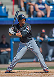 7 March 2016: Miami Marlins outfielder Xavier Scruggs in action during a Spring Training pre-season game against the Washington Nationals at Space Coast Stadium in Viera, Florida. The Nationals defeated the Marlins 7-4 in Grapefruit League play. Mandatory Credit: Ed Wolfstein Photo *** RAW (NEF) Image File Available ***