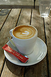 Cup of coffee at an outdoor cafe, Christchurch, New Zealand