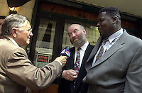 IN ADVANCE FOR 20TH ANNIVERSARY OF CROWN HEIGHTS RIOTS IN BROOKLYN, NY ON AUGUST 19, 1991. Norman Rosenbaum and Carmel Cato meet for lunch with NYS Gov. George Pataki on August 19, 2002,  the anniversary of the Crown Heights riots in 1991. Cato' s son Gavin was killed in an automobile accident by a driver driving the late Grand Rebbe Menachen Schneerson sparking four days of rioting in Crown Heights, Brooklyn. Rosenbaum's brother, a Rabbinical student, was stabbed and killed by a rioting mob.  The two met for the first time last year and hope that their friendship will serve as an example against racism and anti-semitism. Cato and Rosenbaum are interviewed by WNBC's senior reporter Gabe Pressman. (© Richard B. Levine)
