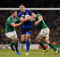Louis Picamoles of France takes on the Ireland defence. Rugby World Cup Pool D match between France and Ireland on October 11, 2015 at the Millennium Stadium in Cardiff, Wales. Photo by: Patrick Khachfe / Onside Images