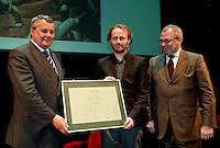 "Geert Buelens winning the ABN AMRO Bank award for non-fiction book 2008 for his book ""Europa Europa !"" in Antwerp (Belgium, 02/04/2009)"
