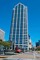 One America Plaza, Granite and Glass, Building, Sculpted roof, Public Light Trolley, San Diego, Ca,