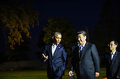 United States President Barack Obama (left) walks with President of the People's Republic of China Xi Jinping (right) along the driveway at The White House in Washington, D.C., Thursday, Sept. 24, 2015, en route to a private dinner across the street at Blair House. <br /> Credit: Rod Lamkey Jr. / Pool via CNP