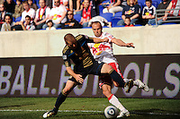 Jordan Harvey (2) of the Philadelphia Union and Joel Lindpere (20) of the New York Red Bulls battle for the ball. The New York Red Bulls defeated the Philadelphia Union 2-1 during a Major League Soccer (MLS) match at Red Bull Arena in Harrison, NJ, on April 24, 2010.