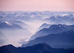 Aerial of Breaksea Sound. Fiordland National Park New Zealand.