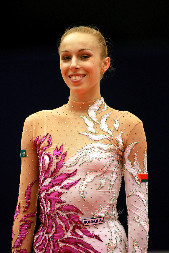 Inna Zhukova of Belarus celebrates winning silver victory in ball during medals ceremony at 2006 Mie World Cup Finale of rhythmic gymnastics on November 17, 2006 at Mie, Japan.<br />