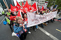 Public sector strikes over pension cuts. 10-5-12 Members of the PCS, UNITE, NUT and RMT Trade Unions strike over cuts to their pensions. Strikers march from St Thomas' Hospital to Westminster Central Hall.