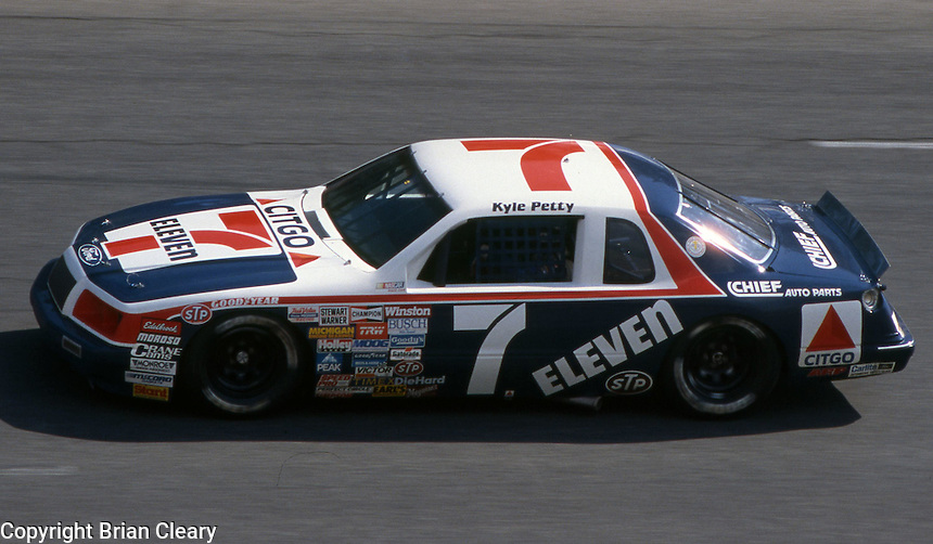 Kyle Petty (7) Ford 28th place Motorcraft 500 at Atlanta International Raceway in Hampton, GA on March 16, 1986.   (Photo by Brian Cleary/www.bcpix.com)