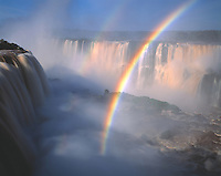 Iguazu Falls Rainbow, Iguazu Falls National Park, Brazil     Huge waterfall in souhtern Brazil rainforest  UNESCO World Heritage Site