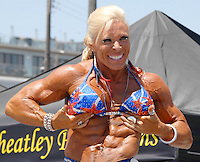 Lauren Powers poses during the Muscle Beach International Classic on Monday, May 30, 2011. She won first place in the woman's division.