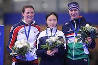 SCHAATSEN: BERLIJN: Sportforum Berlin, 05-12-2014, ISU World Cup, Podium 500m Ladies Division A, Heather Richardson (USA), Sang-Hwa Lee (KOR), Margot Boer (NED), ©foto Martin de Jong