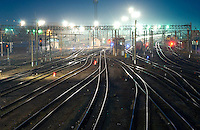 Railway station and tracks at Trans-Sibirian by night