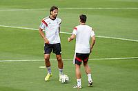 Sami Khedira and Mesut Ozil of Germany during training