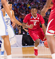 NWA Democrat-Gazette/J.T. WAMPLER Arkansas' Adrio Bailey drives to the basket against North Carolina Sunday March 19, 2017 during the second round of the NCAA Tournament at the Bon Secours Wellness Arena in Greenville, South Carolina.