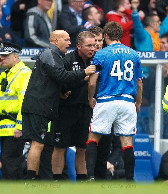 Andy Little tells the Rangers bench he can't continue