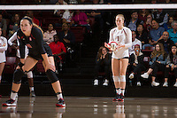 STANFORD, CA - October 14, 2016: Jenna Gray at Maples Pavilion. The Arizona Wildcats defeated the Cardinal 3-1.