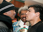 Undisputed Welterweight Champion Zab Judah (l) and challenger Carlos Baldomir (r) face off at the presser announcing their upcoming fight.  The two will meet at the Theater at Madison Square Garden on January 7, 2006.