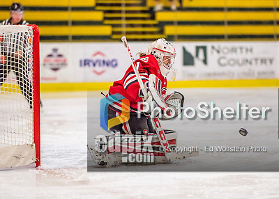 25 November 2016: Saint Cloud State Huskie Goaltender Janine Alder, a Freshman from Zurich, Switzerland, gives up the first goal of the game in the second period to the University of Vermont Catamounts at Gutterson Fieldhouse in Burlington, Vermont. The Lady Cats defeated the Huskies 5-1 to take the first game of the 2016 Windjammer Classic Tournament. Mandatory Credit: Ed Wolfstein Photo *** RAW (NEF) Image File Available ***