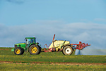 Agricultural crop spraying by tractor, Overberg, Western Cape, South Africa