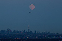 West Orange, NJ. 10 August 2014. The 'supermoon'  rise over New York  City from in West Orange. This 'supermoon' is the closest and largest full moon for all of 2014 Photo by Kena Betancur/VIEWpress