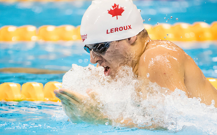 James Leroux, of Repentigny, QC, competes in the men's 100m breaststroke SB9 classification heats at the Olympic Aquatics Stadium during the Paralympic Games in Rio de Janeiro, Brazil, on September 8, 2016.
