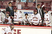 Julius Mattila (BC - 26), Mike Ayers (BC - Assistant Coach), Chris Calnan (BC - 11), JD Dudek (BC - 15), Graham McPhee (BC - 27), Marty McInnis (BC - Assistant Coach), Zach Walker (BC - 14) - The visiting Boston University Terriers defeated the Boston College Eagles 3-0 on Monday, January 16, 2017, at Kelley Rink in Conte Forum in Chestnut Hill, Massachusetts.