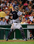 21 August 2009: Milwaukee Brewers' catcher Jason Kendall in action against the Washington Nationals, at Nationals Park in Washington, DC. The Brewers defeated the Nationals 7-3 in the first game of their four-game series. Mandatory Credit: Ed Wolfstein Photo