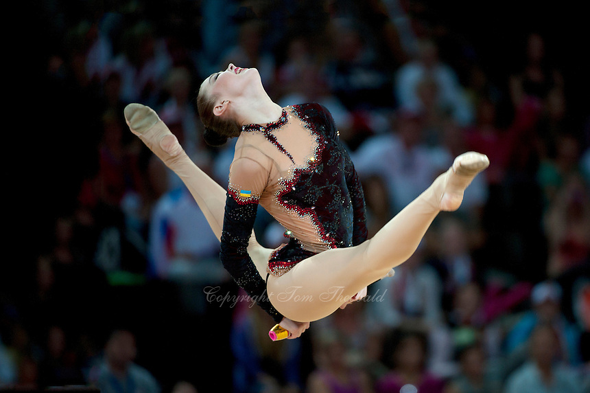 September 22, 2011; Montpellier, France;  ALINA MAKSYMENKO of Ukraine performs with clubs during event finals at 2011 World Championships.