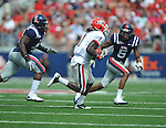 Georgia running back Isaiah Crowell (1) is chased by Ole Miss' Ralph Williams (44) and Ole Miss' Frank Crawford (5) at Vaught-Hemingway Stadium in Oxford, Miss. on Saturday, September 24, 2011. Georgia won 27-13.