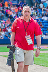 8 March 2015: Baseball photographer Steve Moore walks to his photo position during a Spring Training game between the New York Mets and the Boston Red Sox at Tradition Field in Port St. Lucie, Florida. The Mets fell to the Red Sox 6-3 in Grapefruit League play. Mandatory Credit: Ed Wolfstein Photo *** RAW (NEF) Image File Available ***