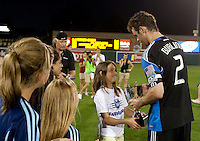 Bobby Burling accepts the Sacramento Cup. The San Jose Earthquakes defeated Chivas USA 6-5 in shootout after drawing 0-0 in regulation time to win the inagural Sacramento Cup at Raley Field in Sacramento, California on June 12, 2010.