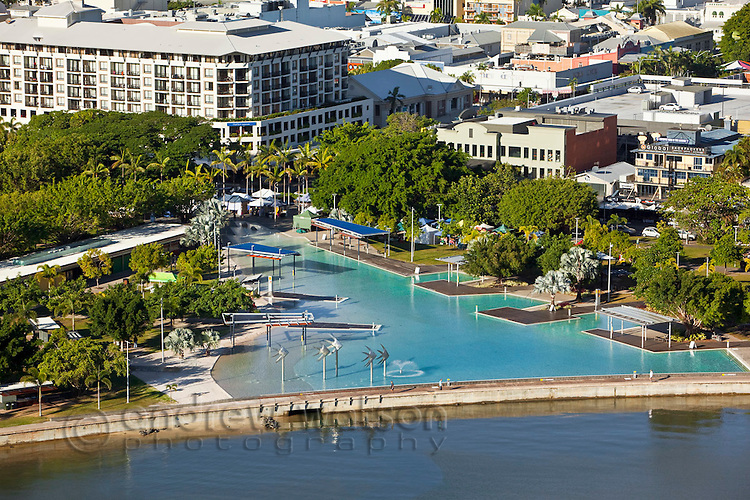 Aerial view of Esplanade lagoon.  Cairns, Queensland, Australia.